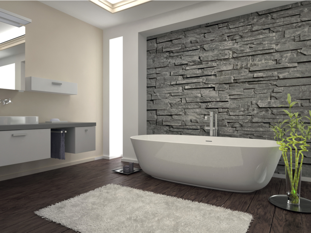Modern bathroom with stone wall 1024 x 768